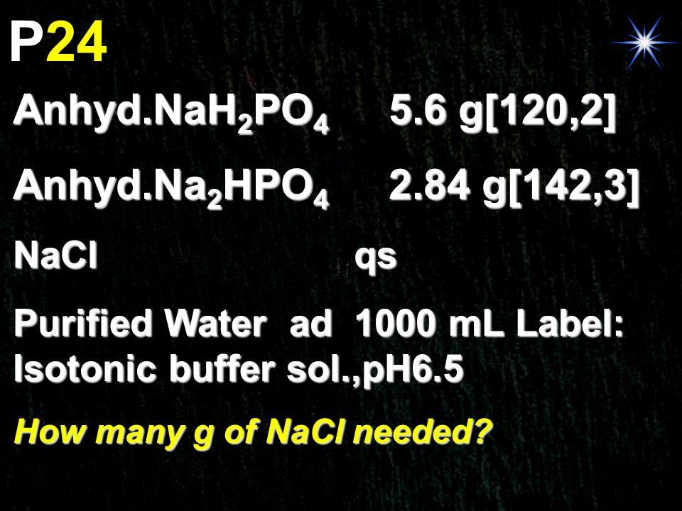 P24 Anhyd.NaH2PO4 5.6 g[120,2] Anhyd.Na2HPO4 2.84 g[142,3] NaCl qs